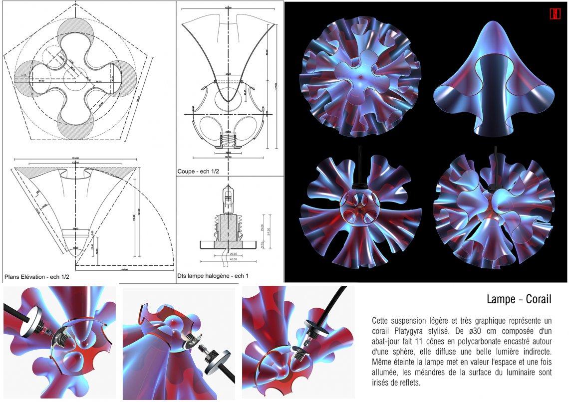 Lampe suspension Corail